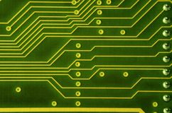 Close up of colored micro circuit board. Abstract technology background. Computer mechanism in detail. S stock photography