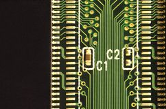 Close up of colored micro circuit board. Abstract technology background. Computer mechanism in detail. S stock photo