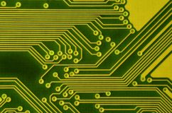 Close up of colored micro circuit board. Abstract technology background. Computer mechanism in detail. S royalty free stock image