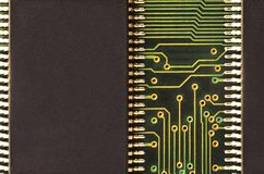 Close up of colored micro circuit board. Abstract technology background. Computer mechanism in detail. S stock images