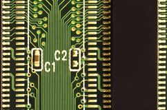 Close up of colored micro circuit board. Abstract technology background. Computer mechanism in detail. S stock photos