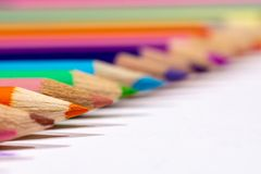 Close up of colored pencils royalty free stock images