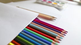 Close-up colored pencils, dolly shot Royalty Free Stock Images
