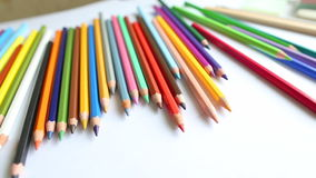 Close-up colored pencils, dolly shot Stock Image
