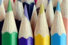 Close up on colored pencils royalty free stock photo