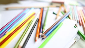 Close-up colored pencils and watercolor Stock Photo