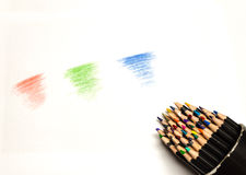 Close up of colored pencils on white background Stock Image