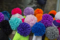 Close up of colored pom pom. With background Stock Image