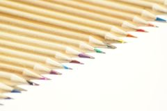 Close up on colored wooden pencils royalty free stock images