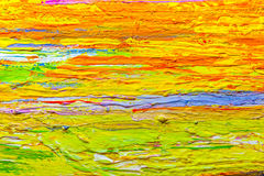 Close up colorful acrylic color painted on canvas Stock Photo
