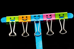 Close up colorful of binder clips on Ice cream sticks Stock Image