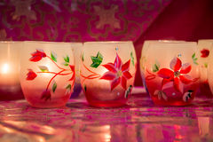 Close up of colorful candles jars Stock Photo