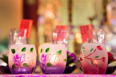 Close up of colorful candles jars Royalty Free Stock Images