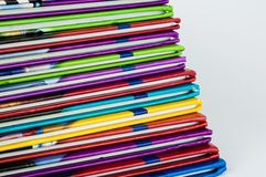 Close up of colorful children encyclopedia foredges. Diagonal, abstract stock image