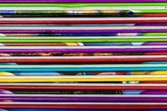 Close up of colorful children encyclopedia foredges. Horizontal, abstract stock images