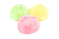 Close up colorful of daifuku dessert from japanese isolated. On white background stock image