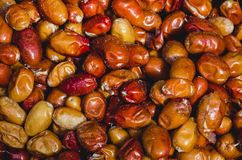 Close up of colorful dried dates in a Turkish market. Close up of colorful dried dates displayed in a Turkish market from Istanbul Royalty Free Stock Photo