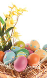 Close up of a colorful Easter arrangement. Multi colored Easter eggs in a basket, close view Royalty Free Stock Photography