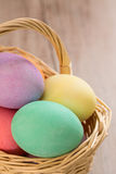 Close up of Colorful Easter Eggs in a Wicker Basket. Close up of colored Easter eggs in a wicker basket Stock Images