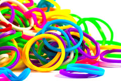 Close up of colorful elastic loom bands color full.  Royalty Free Stock Image