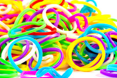 Close up of colorful elastic loom bands color full.  Stock Photo