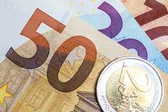 Close up of colorful euro money. Euro money background. Stock Photography