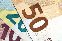 Close up of colorful euro money. Euro money background. Royalty Free Stock Images