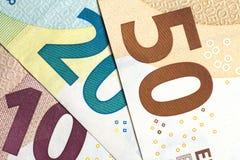 Close up of colorful euro money. Euro money background. Royalty Free Stock Photography