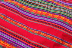 Close up of Colorful Fabric. A close up of handwoven colorful fabrics for sale at the Sacred Valley in Peru stock photography