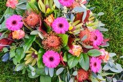 Close up of colorful flower arrangement. stock photos