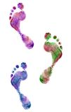 Close up of colorful foot prints Royalty Free Stock Image