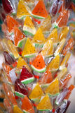 Close up of colorful handmade watermelon lollipop on market Stock Photo