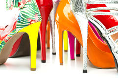 Close up colorful High Heels Shoes Royalty Free Stock Photography