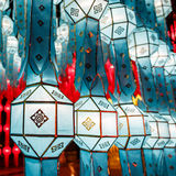 Close-up colorful international lanterns Stock Photos