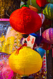 Close-up colorful international lanterns, Hang Ma, Vietnam Royalty Free Stock Images