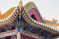 Intricate ancient chinese roof top. Close up of a colorful,  intricate ancient chinese roof top Stock Photos