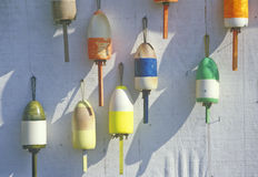 Close up of colorful lobster buoys, Muscongus Bay in New Harbor ME Royalty Free Stock Photography