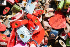 Close up colorful locks of love taken at N Seoul Tower Royalty Free Stock Photo