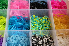 Close up colorful of loom bands stock photos