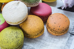 Close up colorful macarons dessert.  Royalty Free Stock Photo