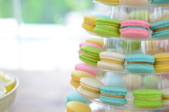 Close-up colorful macarons on pyramid-shaped plastic stand Royalty Free Stock Photos