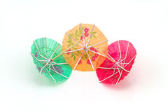 Close up colorful of many  cocktail umbrellas on white  backgrou Royalty Free Stock Image