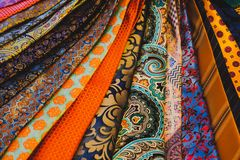 Close-up Of Colorful Mens Ties Accessories Fashion Boutique Prints royalty free stock image