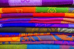 Close up of colorful Mexican blankets for sale at market, Latin America, fabric background.  Royalty Free Stock Photography