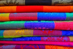 Close up of colorful Mexican blankets for sale at market, Latin America, fabric background.  Stock Images