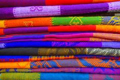 Close up of colorful Mexican blankets for sale at market, Latin America, fabric background.  Royalty Free Stock Image