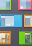 Close up of Colorful Modern Building Windows. Close up Colorful Modern Building Windows royalty free stock photography