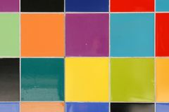 Close up of colorful mosaic tiles. Pattern on a wall Royalty Free Stock Images