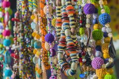 Close up of colorful necklace pile royalty free stock photography