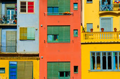 Close up of colorful old houses and windows. Girona, Spain. Colo. R blocks architecture background Stock Photography